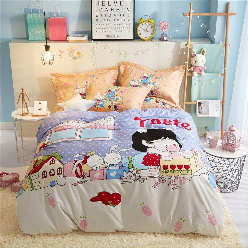 Cartoon Lovely Girl King Queen Full Size 3/4PCS Cotton Bedding Set Duvet Cover Bed Linen Bed sheet Pillowcases Gift For Child