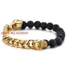 Charming Black Beads Skull Bracelet For Women's Men's Lava Stone Beads Men's Gold Cuban Curb Chain Bracelets Pulseras Jewelry