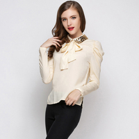 Runway New Brand Beading Rivets Collar Ol Blouse Shirt With Bow All Match Basic Womens Shirts