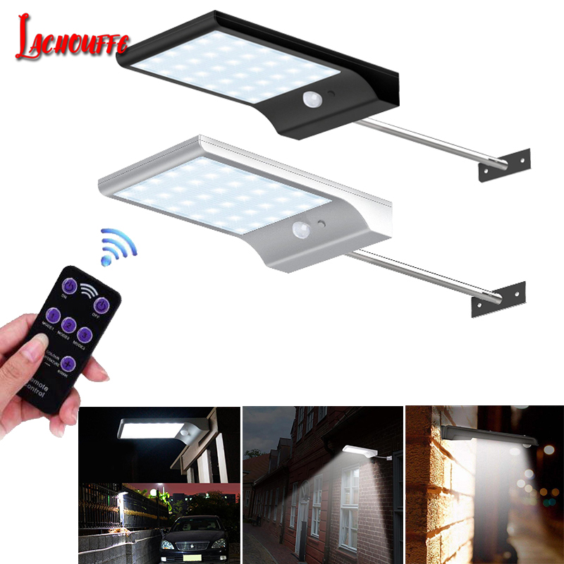 36 48 leds Solar Light Color Adjustable With Remote Control 3 Modes Waterproof Wall Lights Lamp For Outdoor Garden Wall Street in Solar Lamps from Lights Lighting