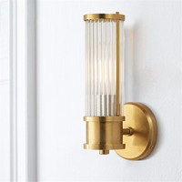 Vintage Ameican Country Personalize Pure Copper Glass Led Wall Sconce Lamp For Hotel Bathroom Home Decor