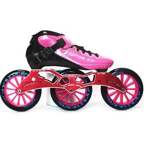 Image 4 - Hızlı tek sıra tekerlekli paten karbon Fiber rekabet paten 3*125mm tekerlekler sokak yarış tren paten Patines çocuklar için yetişkin SH56