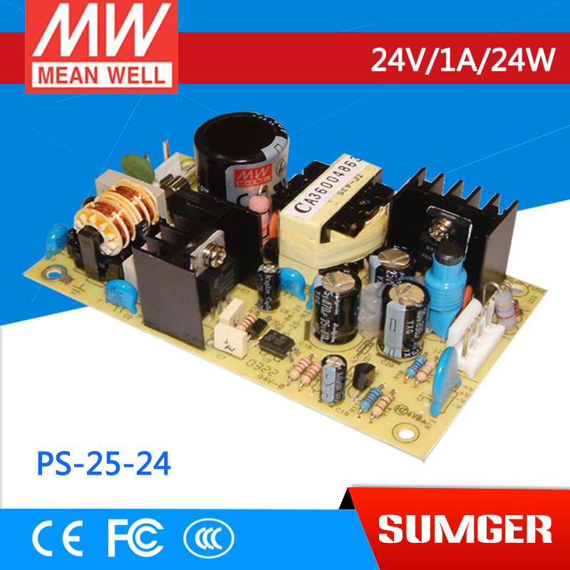 ФОТО [Freeshiping 2Pcs] MEAN WELL original PS-25-24 24V 1A meanwell PS-25 24V 24W Single Output Switching Power Supply