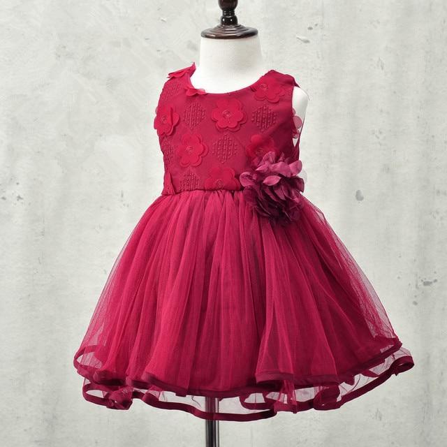 2016 autumn brand flowers girl dresses,lace rose Party Wedding Birthday baby dress,princess tutu elegant toddler girl clothing