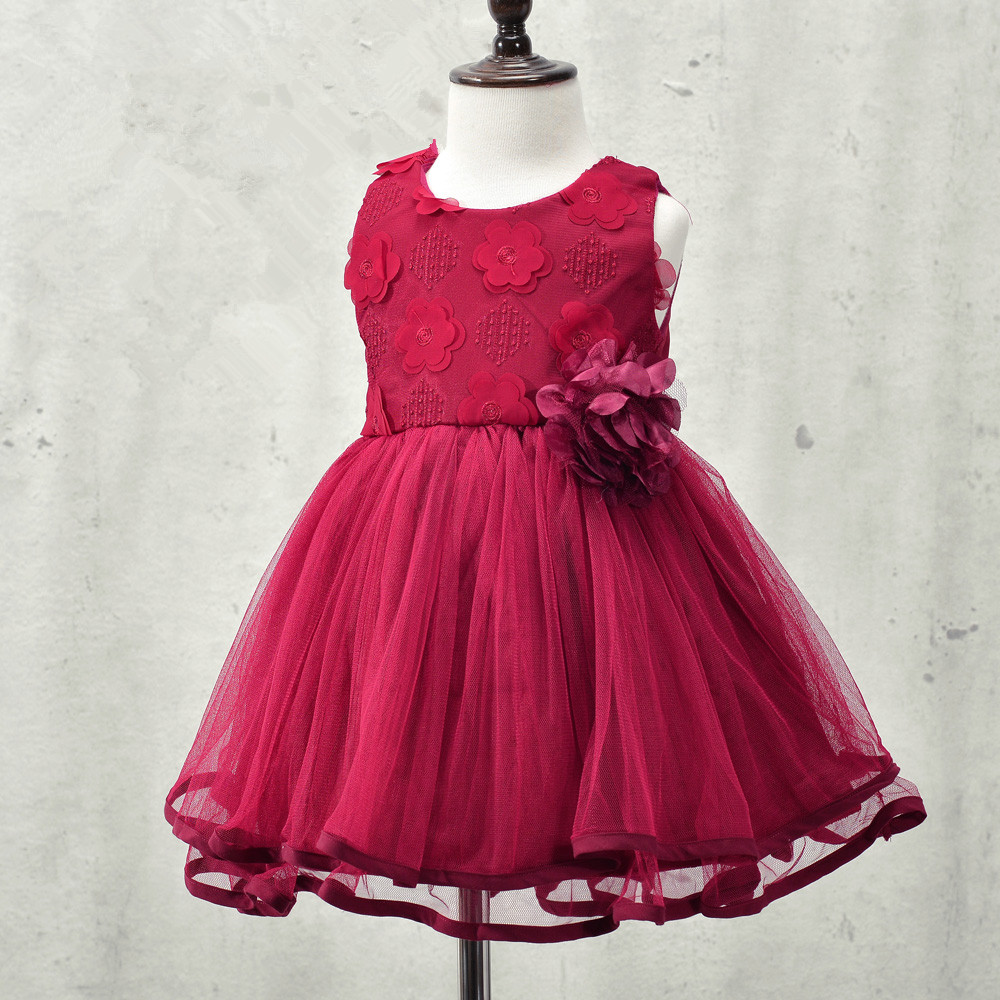 2017 autumn brand flowers girl dresses lace rose Party