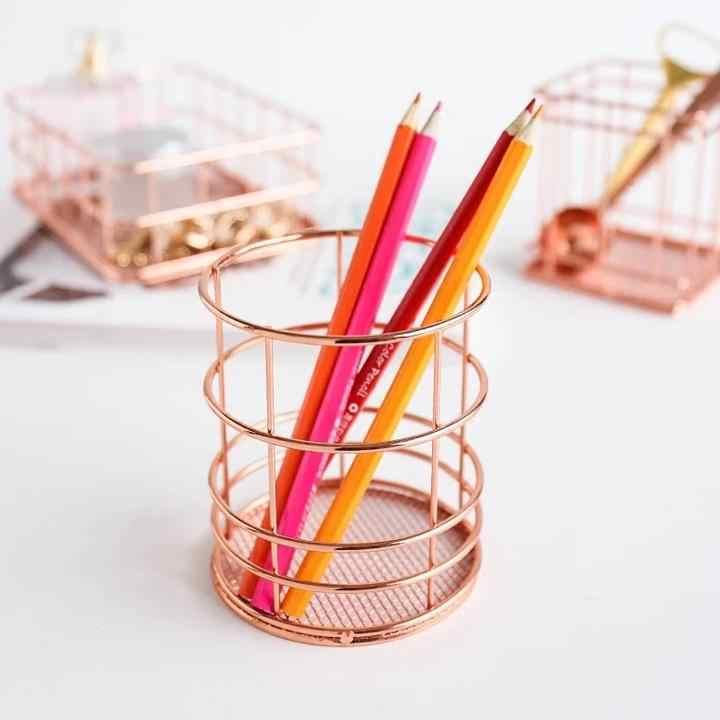 Simplicidade Estilo nórdico em Ouro Rosa De Metal de Ferro Cesta De Armazenamento Combinação Titular Desktop Acessórios Organizador Dos Artigos de Papelaria