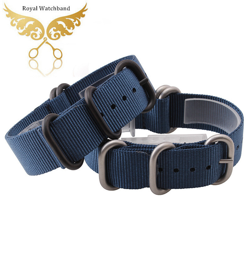 Casual Fashion New High Quality Watchbands Bule 18mm 20mm 22mm 24mm Sport Zulu Nylon Canvas Watch Straps Silver PVD Buckle Nato