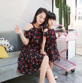 581920259 Familia Matching Outfits madre hija ropa de moda niñas vestidos madre hija  Vestido de playa de gasa verano ropa de bebé
