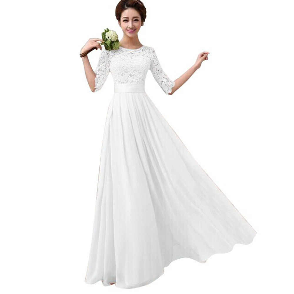 2c8b1f0ad98 ... Women Elegant White Sexy Lace Patchwork Party Dress Plus Size Fashion  Short-Sleeve Floor Length ...