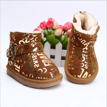 2016 Children's Cow leather snow boots boys girls thick plush-padded winter warm lace-up shoes 3-16 yards baby casual shoes