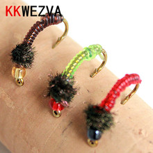 KKWEZVA 24PCS Promotion Stained Glass Bead Head Nymph Scud Midge Fly Fishing Flies for Trout Lures insect Baits