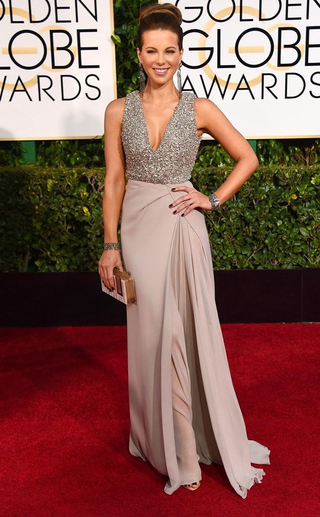 2015 Kate Beckinsale Celebrity Dresses 72 Golden Globe Awards Red Carpet V Neck Champagne Evening Gowns Prom Dresses with Beaded Bodice