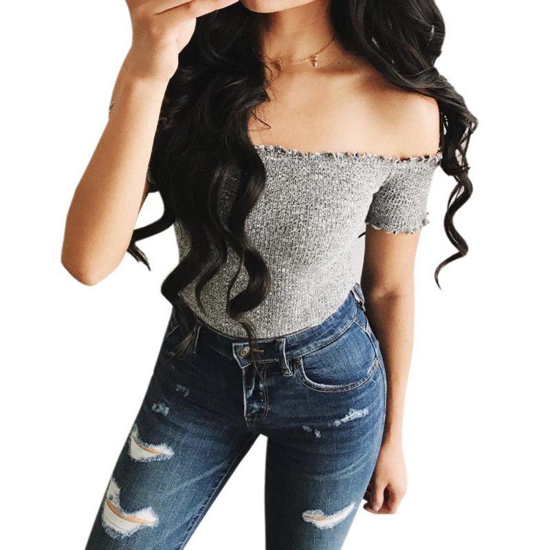 Women T Shirt Off Shoulder Crop Top For Women Long Sleeve Solid Short T-Shirt Women Slash Neck Cotton t shirt women White