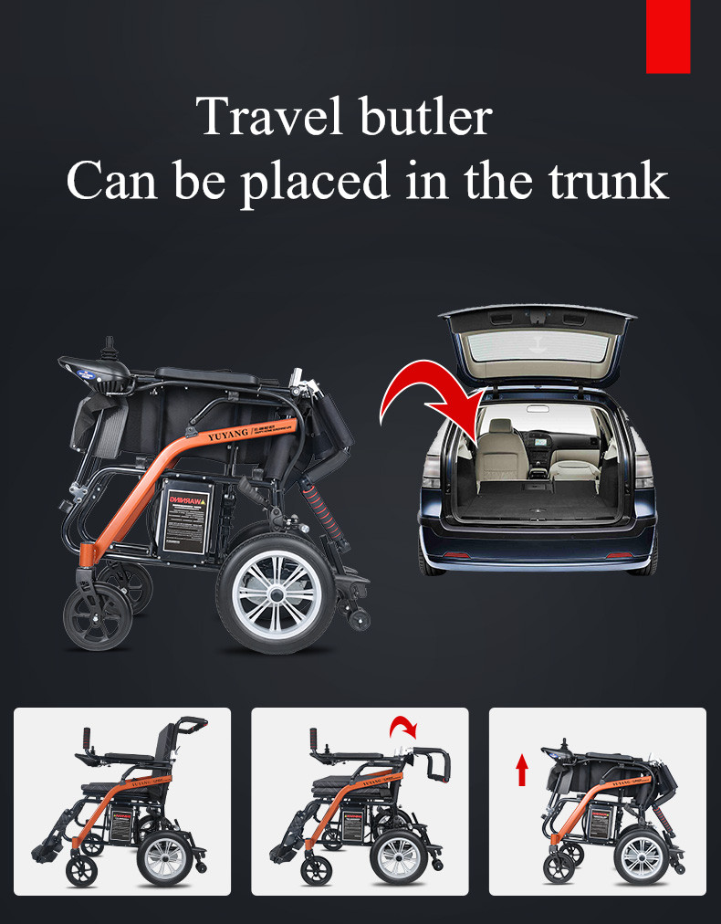 2019 New model foldabled lightweight electric wheelchair can be put into the truck 6