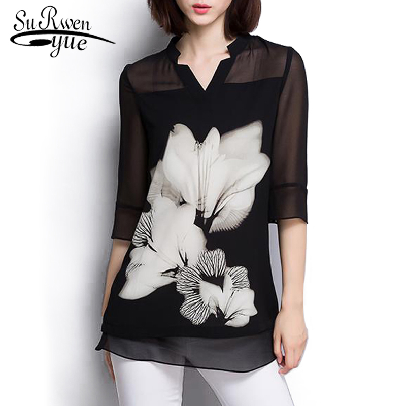 9f1b5c4681b4d4 women chiffon blouse Summer tops 2019 Fashion plus size Black blouse women  shirt tops Long Sleeve women's clothing blusas 60C 25 ~ Perfect Deal May  2019