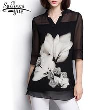 women chiffon blouse Summer tops 2019 Fashion plus size Black blouse women shirt tops Long Sleeve women's clothing blusas 60C 25