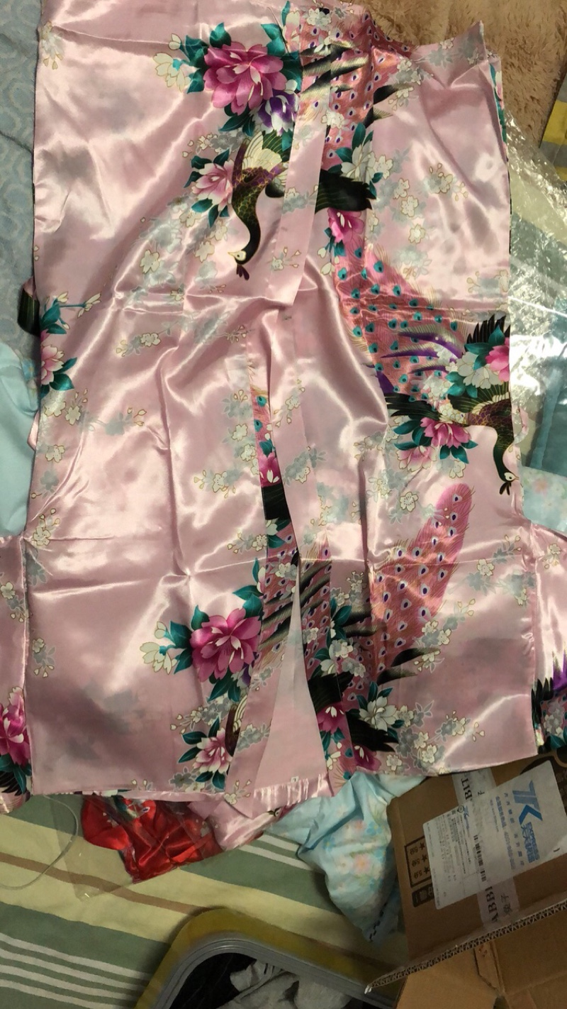 HTB1A0b2XyHrK1Rjy0Flq6AsaFXat Woman Loose Style Pajamas Home Sleep Wear Lace Up Peacock Print V-neck Night Gown Japanese Kimono Yukata Bathing Robe