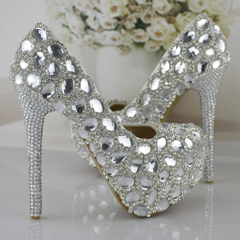 New Style Silver Women High-heeled Wedding Shoes Bride Signle Shoes Pumps Rhinestone Party Shoes Bridesmaids Shoes Size 34-43 shoes women pumps sexy open toe large size 41 43 lace wedding shoes bride and bridesmaids wedding dress pearl high heeled shoes