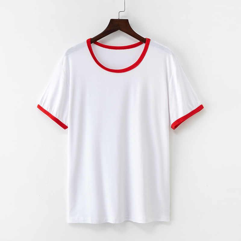 חדש כותנה Harajuku קיץ חולצת טי סקסי מוצק צבע קצר שרוול חולצות & Tees אופנה זוג מזדמן T חולצה