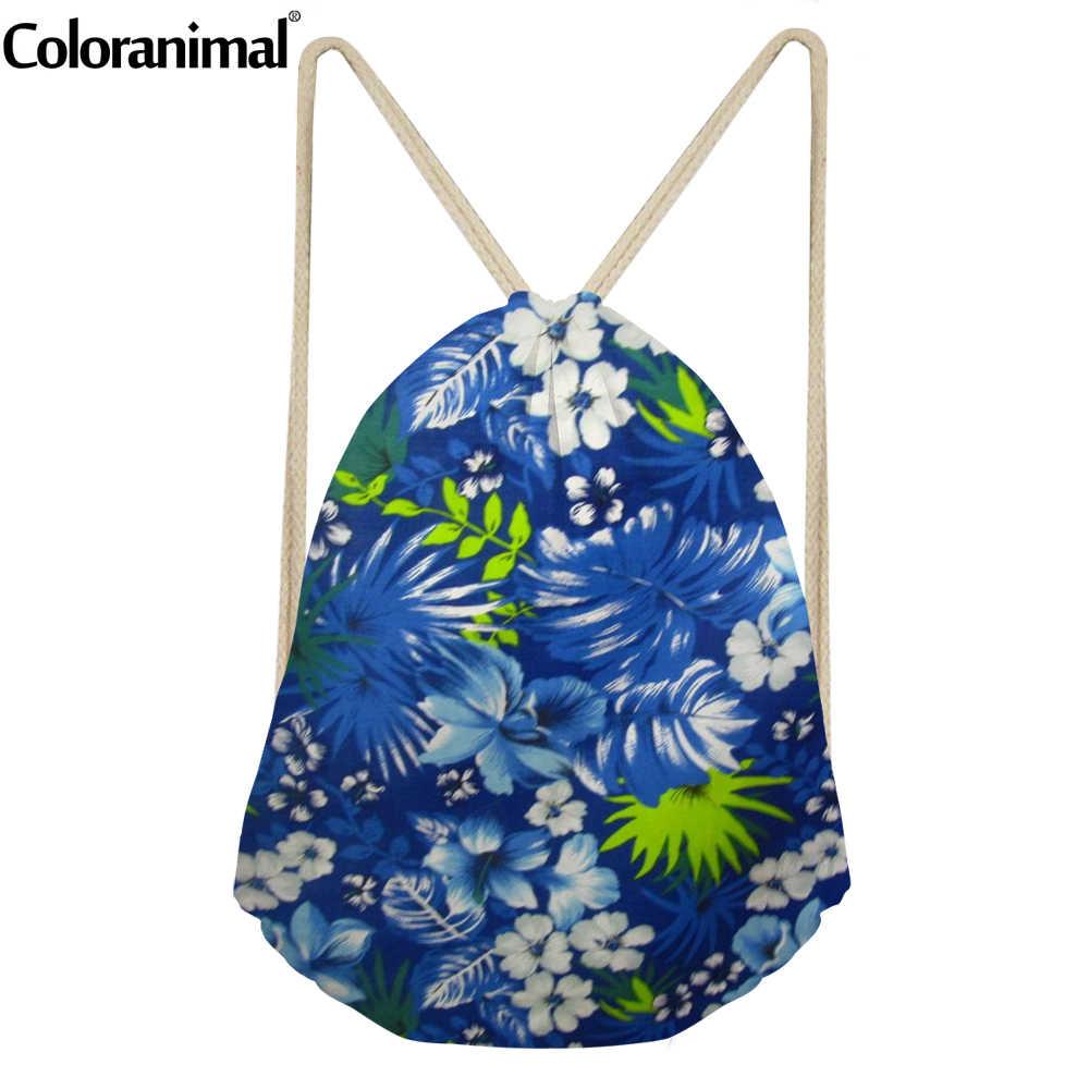 Coloranimal 11 Стиль 3D синий с принтом зеленых листьев для девочек и мальчиков-подростков сумка на шнурке Женский и Вэнь повседневный рюкзак школьные сумки, сумки для хранения