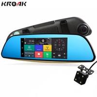 Kroak Dual Lens 7 1080P 3G Car DVR Rearview Mirror Camera Quad Core Android5 0 Bluetooth