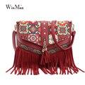 2016 national Bohemian Tassel Shoulder Bag bolsa feminina Women leather Messenger Bag Tapestry Textures Cross Bag sacoche femme
