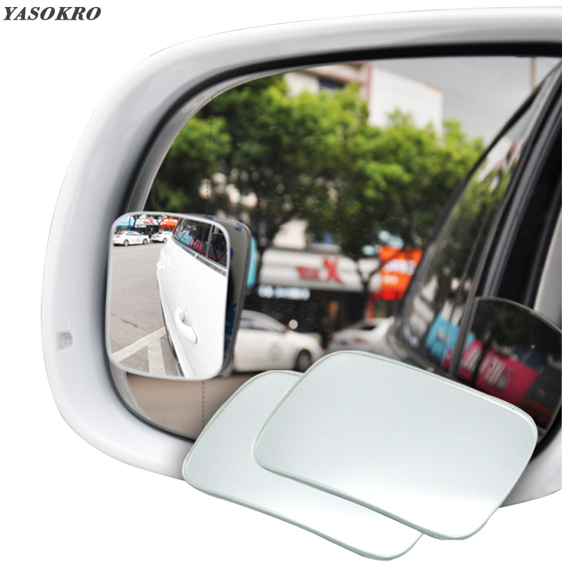 YASOKRO 1 Pair 360 Rotation Adjustable Wide Angle Mirror Blind Spot Mirror square Convex Rearview Mirror Car mirror Universal
