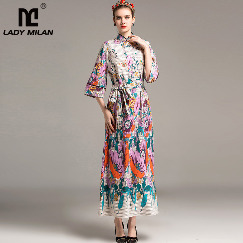 New Arrival 2018 Womens Stand Collar 3/4 Sleeves Floral Printed Sash Belt High Street Fashion Long Casual Dresses