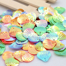 30Pcs 18*19mm Sea Shell Shape Pvc Loose Sequins Paillettes Sewing Embellishment Findings Wedding Craft Women Cloth Accessory(China)