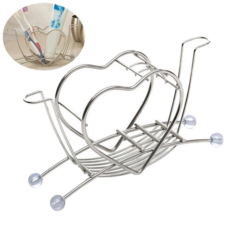 Creative Toothbrush Holder Heart Shape Stainless Steel Toothpaste Toiletries Storage Rack For Home Bathroom Bedroom Daily Use-in Toothbrush & Toothpaste Holders from Home & Garden