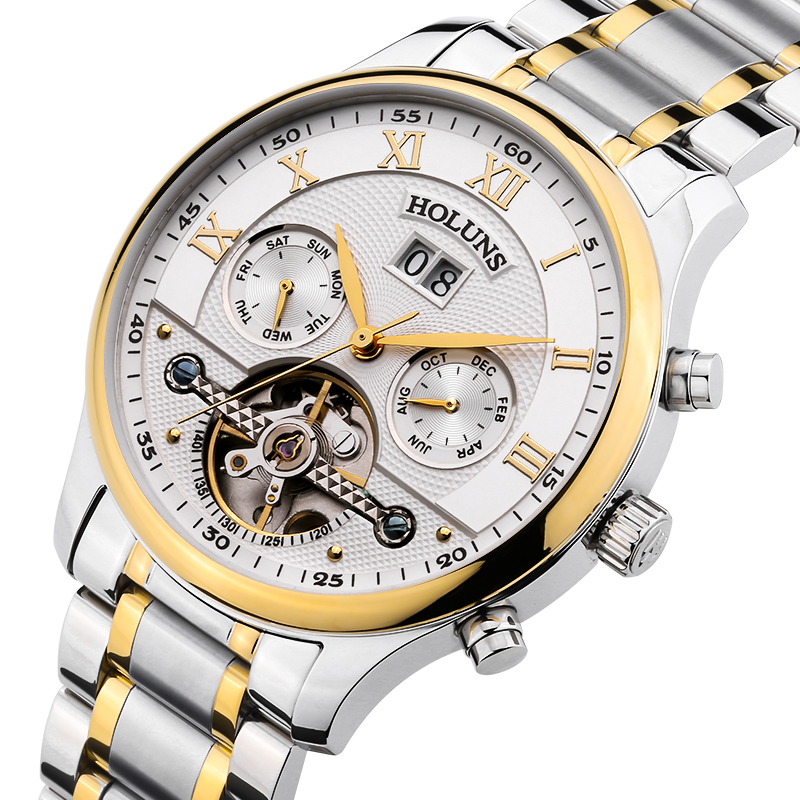 Luxury  HOLUNS tourbillon watch men sapphire Stainless steel waterproof date week Automatic machine watch relogio masculine luxury moon phase watch men sapphire glass stainless steel waterproof automatic machine date watch relogio masculine