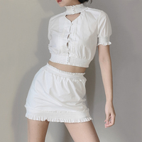 Women Vintage Women Sweet Set blouse in White Colour Button Up Crop Top with Mini Skorts Puffed Sleeve