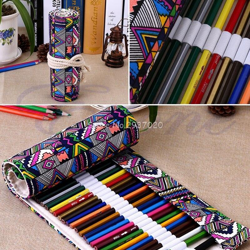 New 36/48/72 Holes Canvas Wrap Roll Up Pencil Pen Bag Holder Case Storage Pouch D14