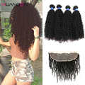 Thick Weft Peruvian Virgin Kinky Curly Hair with Closure 4 Bundles Peruvian Afro Kinky Curly Lace Frontal Closure