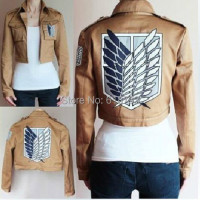 Free Shipping Cosplay Costume Attack on Titan Jacket Shingeki no Kyojin Scouting Legion Coat HU059