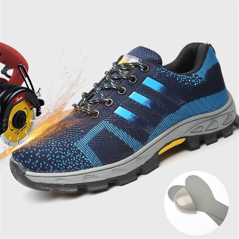 Outdoor Sneakers Work Shoes Men Breathable Steel Toe Cap Work Boots Iron Nose Anti-Puncture Construction Safety Shoes  Plus Size