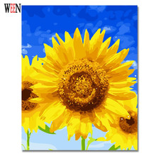 WEEN Yellow Flower Painting By Numbers Modern DIY Digital Sunflower Drawing Picture For Home Decor Gift by numbers Wall Artwork