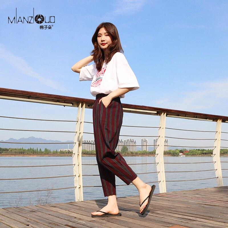 2019 New Pants For Loose Cotton Linen Korean Women Pants Plus Size Cargo Radish Harempants Trousers Casual Elastic High Waist