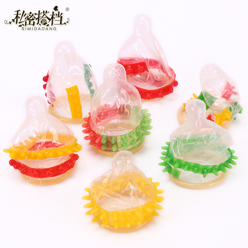 1PC Adult Sex Toys Allotype Condoms G-Spot Vaginal Stimulation Penis Sleeve Ribbed Dotted Spike Latex Lubricated Condom