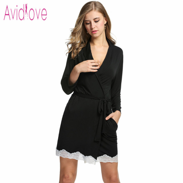 Avidlove Cotton Kimono Bathrobe Women Sexy Long Bath Robe Autumn Belt Gown  Nightgown Lace Nightwear Sleepwear Bathrobes Peignoir d6709c945