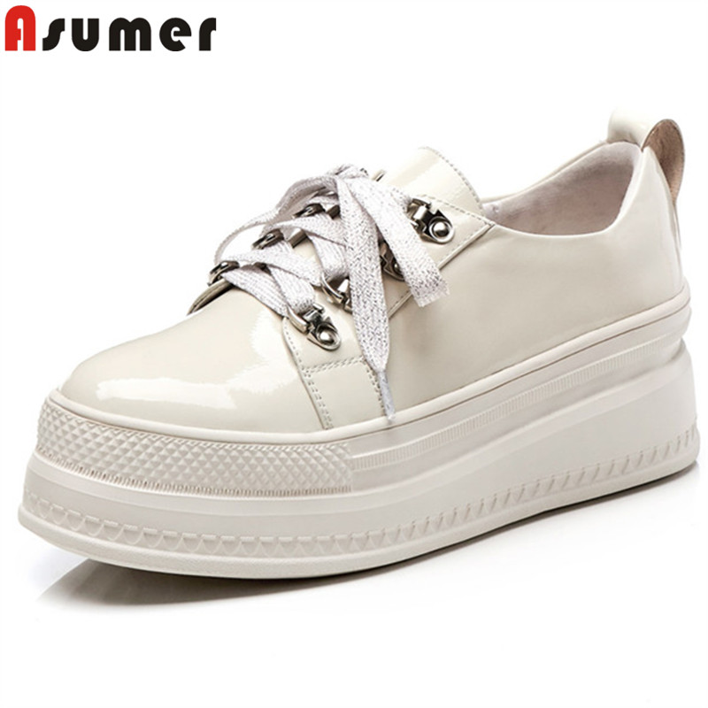 New Shoes Women lattiginosonero Simple Fashion Spring Asumer Genuine Wedges Autumn Round Laces Leather Bianco Flat Flats Women Toe 80OwknP