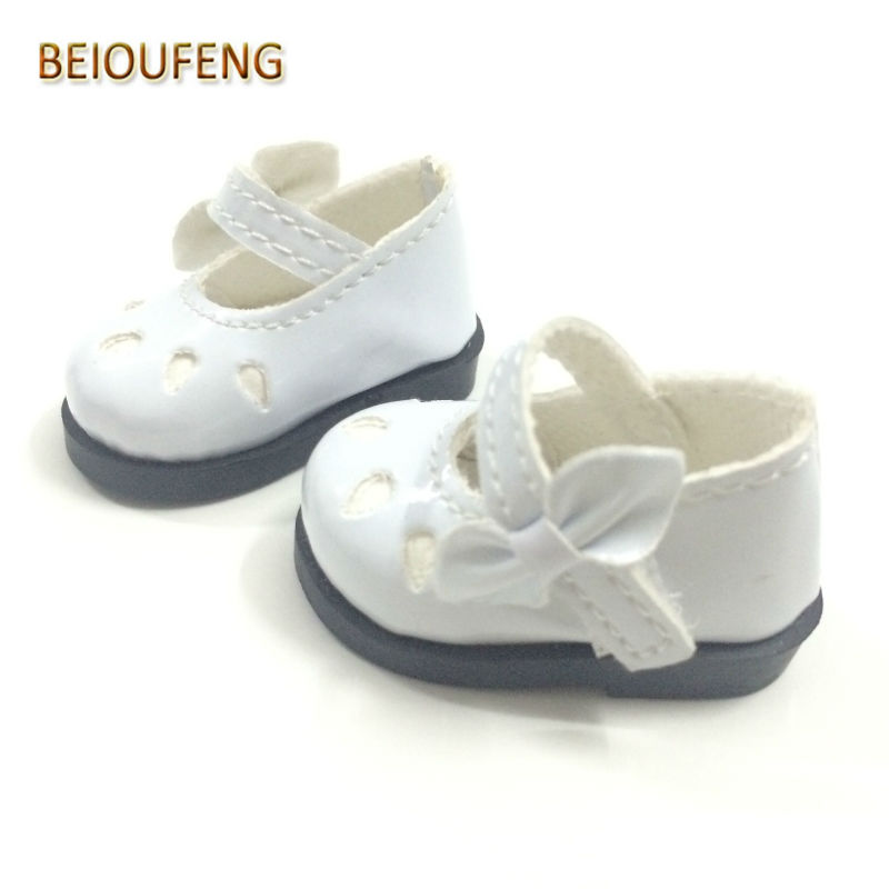 BEIOUFENG One Pair 5CM Mini Doll Shoes for Dolls,Fashion PU Toy Boot with Bow Fashion BJD Snickers Shoes for Dolls Accessories 5cm pu leather doll princess shoes for bjd dolls lace canvas mini toy shoes1 6 bjd snickers for russian doll accessories
