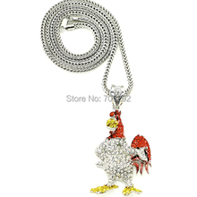 New Iced Out Rooster Pendants Hip Hoop style Necklace
