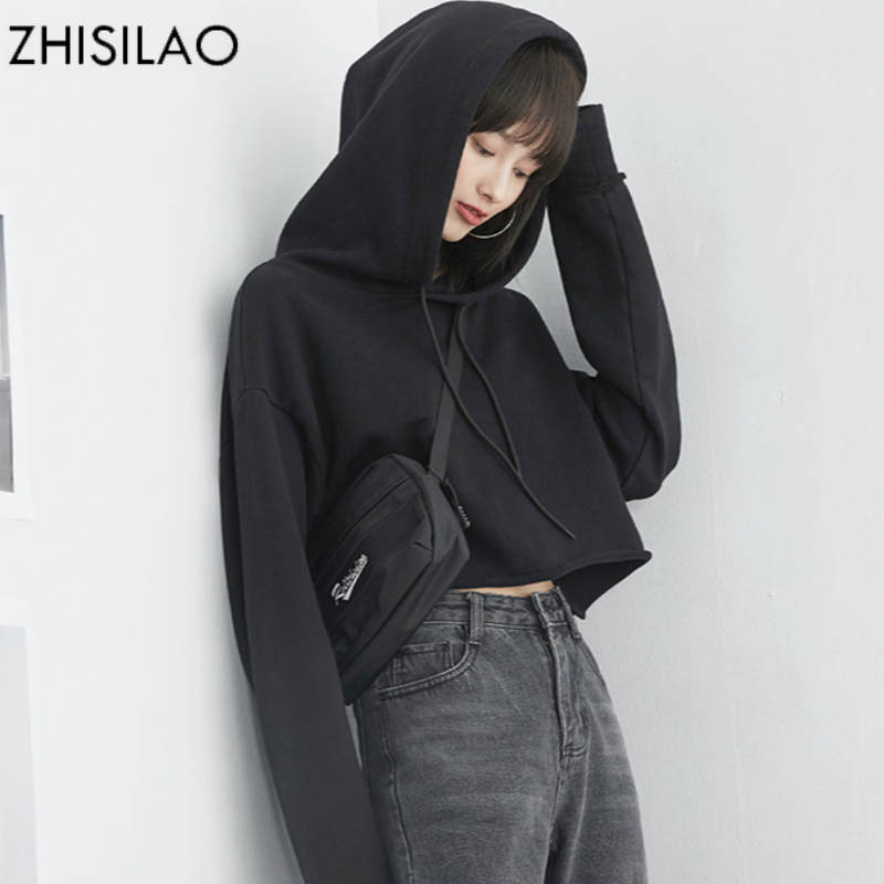 ZHISILAO 2018 Spring Woman Sweatershirt Woman Hoodies Black Harajuku Hoodie Pullovers Hoodies Cropped Tops Kawaii Hoody Kpop