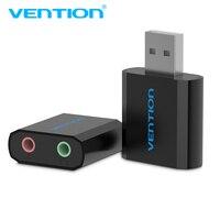 Vention-Mini tarjeta de sonido USB a 3,5mm, adaptador de auriculares con micrófono para altavoz, portátil, PC y PS4