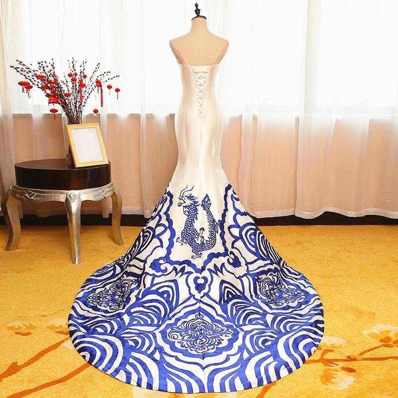 De Noir Dragon Festa Livraison Blanc Robe Et Personnalisée 2018 Sirène Soirée Bustier Gratuite Make Chinois Robes Custom Faire Bdq0qw
