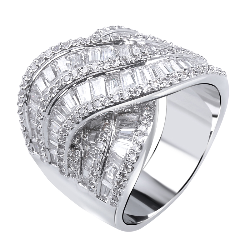 aliexpresscom buy cz cubic zirconia finger ring baguette stone cut fancy big wild elegant super rich look white clear top quality vc mart from reliable - Cubic Zirconia Wedding Rings That Look Real