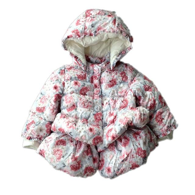 Зима европейский дизайн мэра девочки цветочные ватные скалозуб серый баски форма развертки фраке детская принцесса верхняя одежда