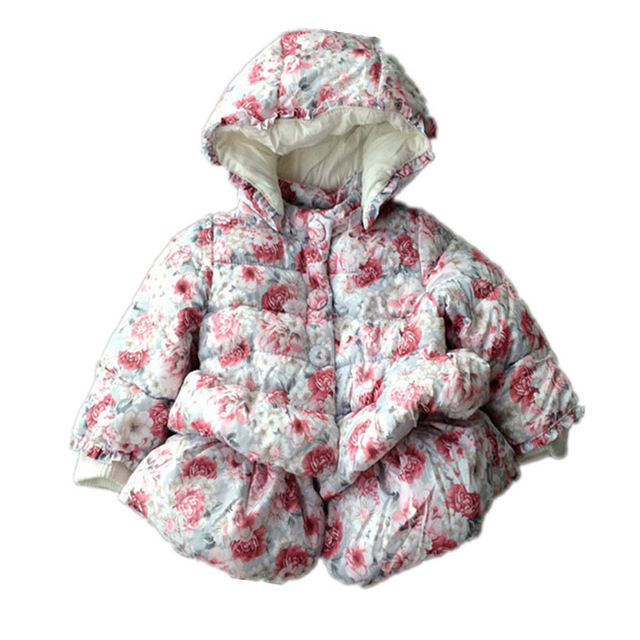 Winter European Design Mayoral Little Girls Floral Quilted Puffer Grey Peplum Shape Sweep Dress Coat Baby Princess Outerwear