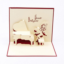цена на 3pcs/lot Piano Birthday Card 3D Kirigami Pop Up Card Handmade Angel Greeting Gift Cards Happy Birthday Day